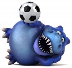 Dino mit Fußball